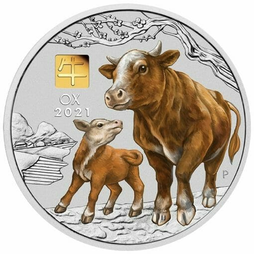 2021 Year of the Ox 1 Kilo Silver Coin with Gold Privy Mark – Lunar Series III 1