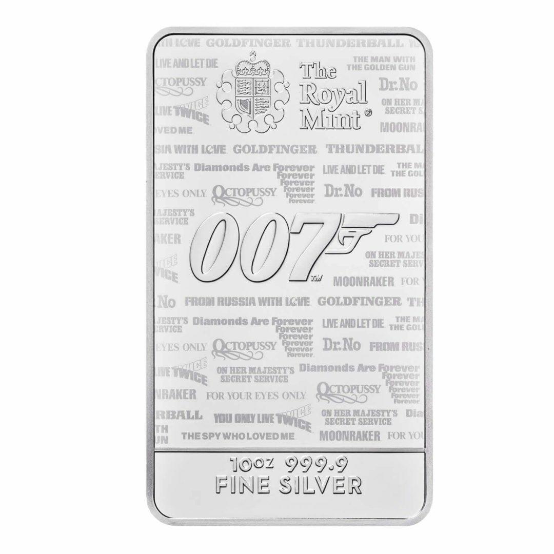 2020 007 James Bond - No Time To Die 10oz .9999 Silver Bullion Bar 1