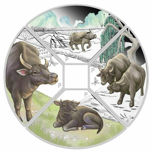 2021 Year of the Ox Quadrant 1oz .9999 Silver Proof Four Coin Set 1