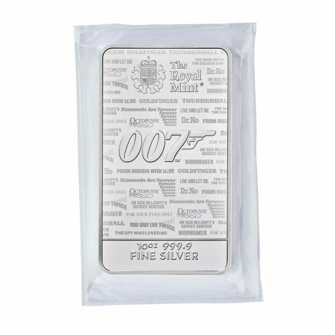 2020 007 James Bond - No Time To Die 10oz .9999 Silver Bullion Bar 6
