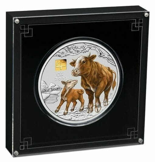 2021 Year of the Ox 1 Kilo Silver Coin with Gold Privy Mark – Lunar Series III 3
