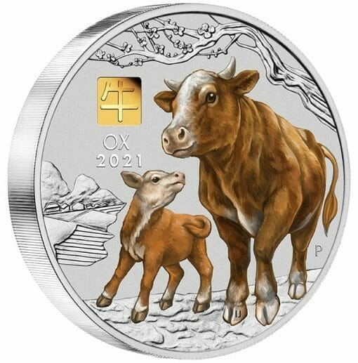 2021 Year of the Ox 1 Kilo Silver Coin with Gold Privy Mark – Lunar Series III 2