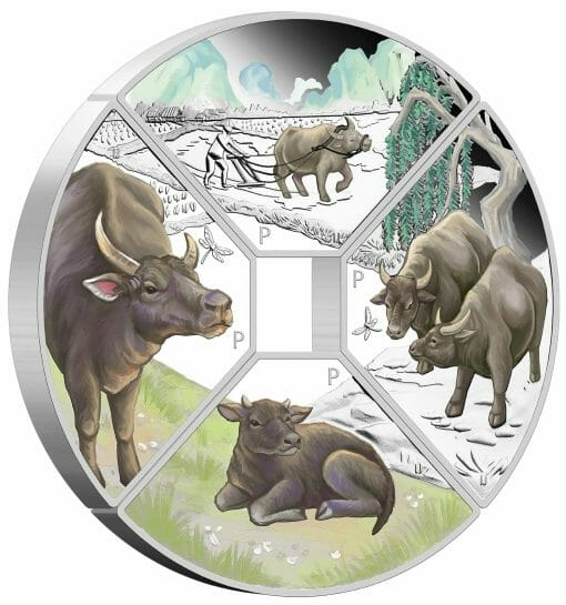 2021 Year of the Ox Quadrant 1oz .9999 Silver Proof Four Coin Set 3