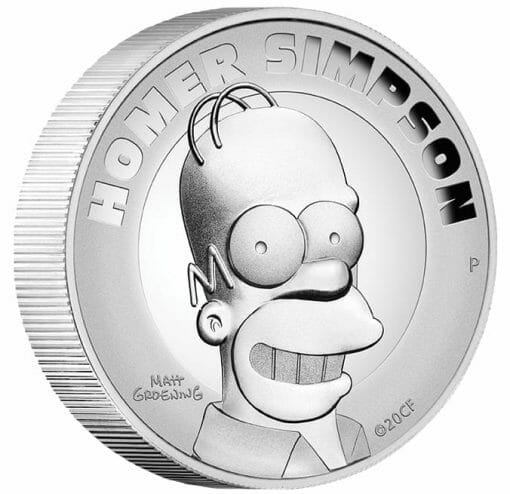 2021 Homer Simpson 2oz .9999 Silver Proof High Relief Coin 2
