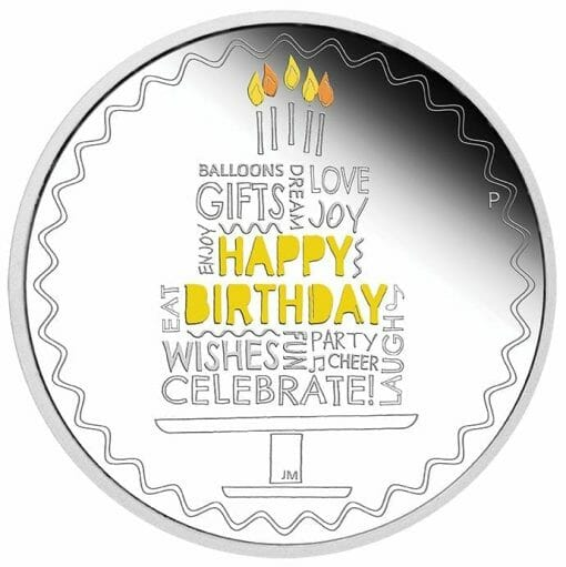 2021 Happy Birthday 1oz .9999 Silver Proof Coloured Coin in Card 1