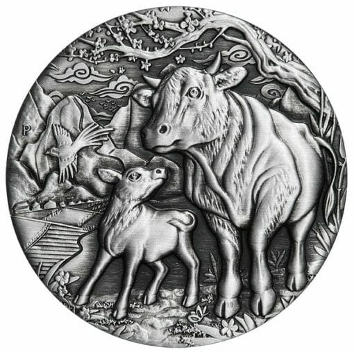 2021 Year of the Ox 2oz .9999 Silver Antiqued Coin - Lunar Series III 1