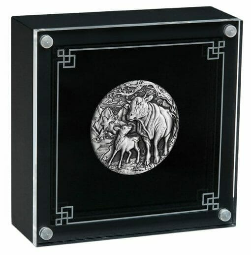 2021 Year of the Ox 2oz .9999 Silver Antiqued Coin - Lunar Series III 4
