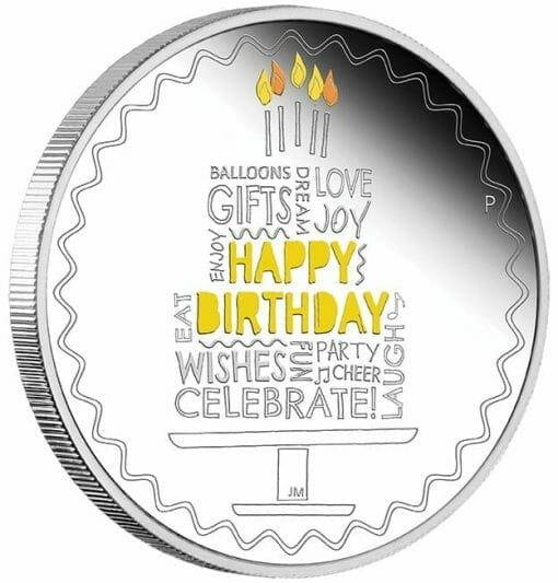 2021 Happy Birthday 1oz .9999 Silver Proof Coloured Coin in Card 3