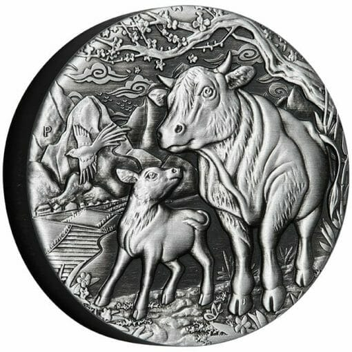 2021 Year of the Ox 2oz .9999 Silver Antiqued Coin - Lunar Series III 2