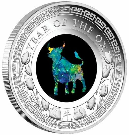 2021 Opal Lunar Series - Year of the Ox 1oz .9999 Silver Proof Coin 2