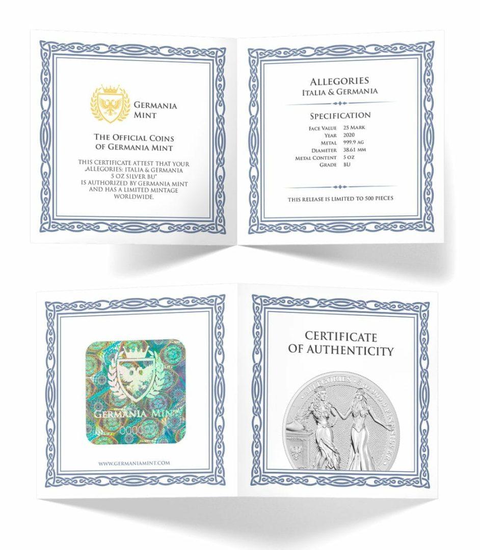 2020 The Allegories - Italia & Germania 5oz .9999 Silver Coin 6