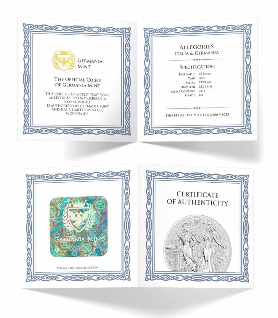 2020 The Allegories - Italia & Germania 2oz .9999 Silver Coin 6