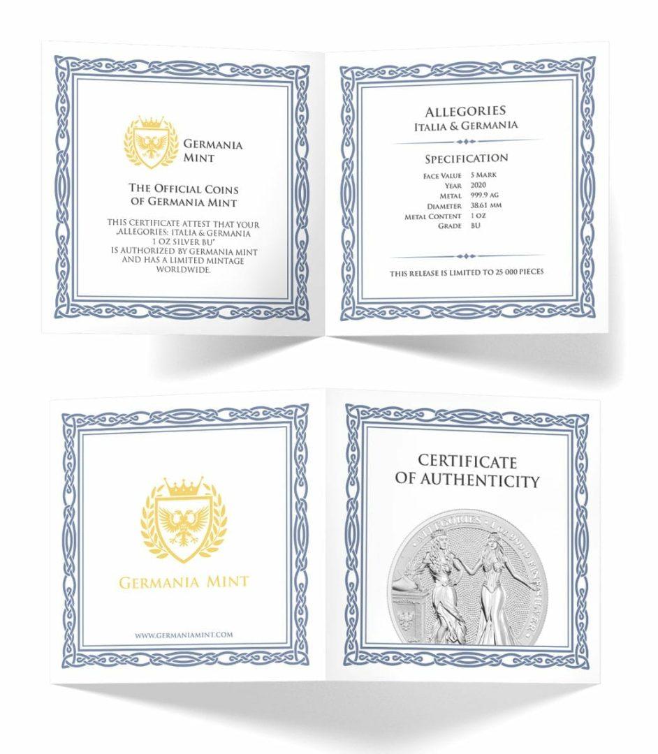 2020 The Allegories - Italia & Germania 1oz .9999 Silver Bullion Coin 4