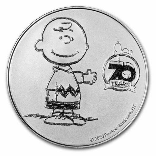 2020 Peanuts 70th Anniversary with Charlie Brown 1oz .999 Silver Bullion Round 1