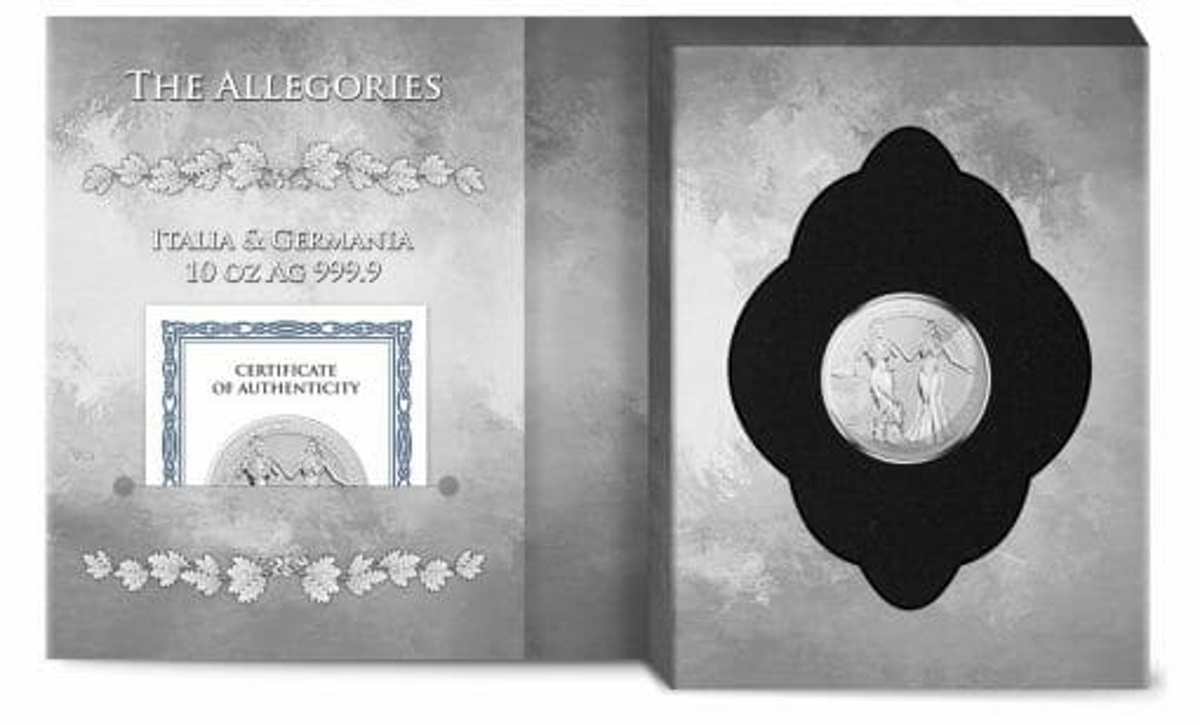 2020 The Allegories - Italia & Germania 10oz .9999 Silver Coin 4