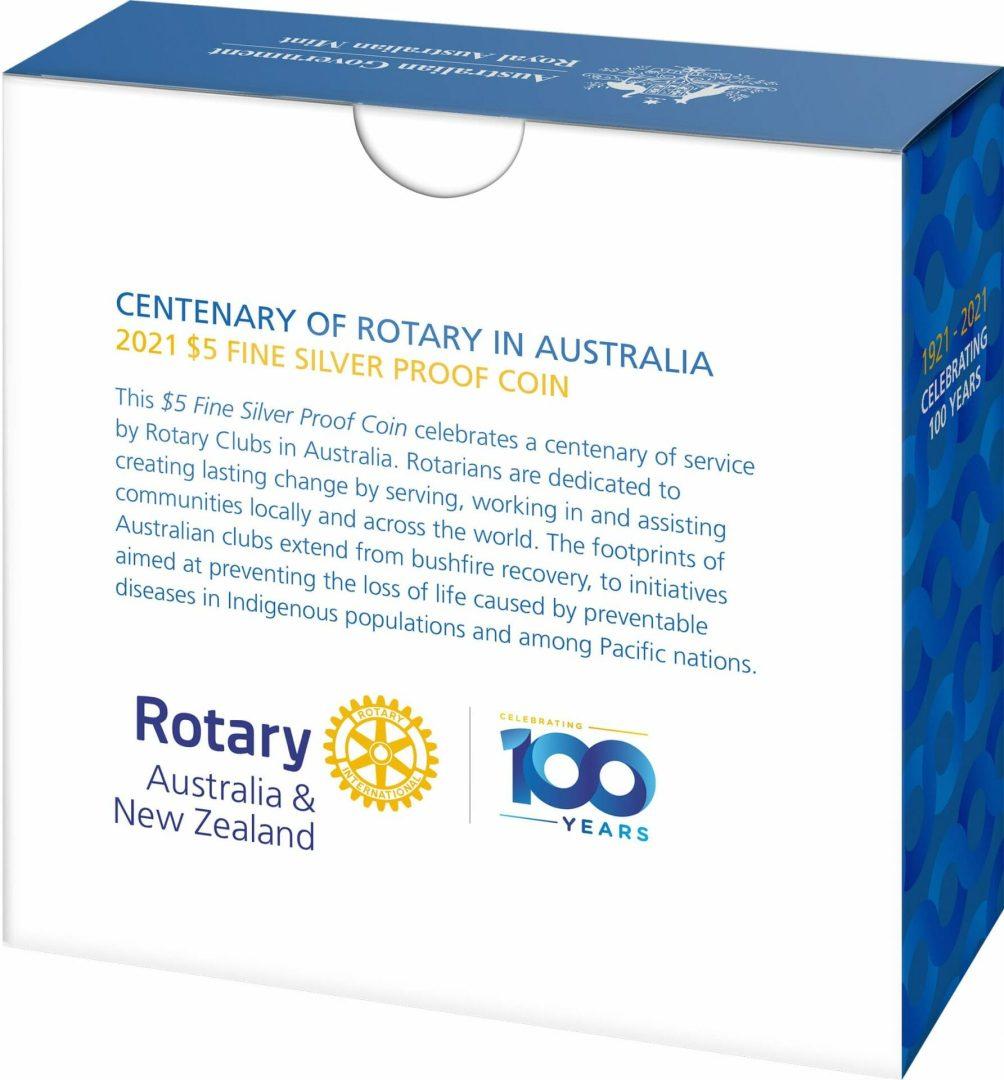 2021 $5 Centenary of Rotary Australia 1oz .999 Silver Proof Coin 11