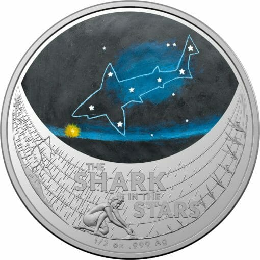 2021 $1 Star Dreaming - Beizam - The Shark in the Stars 1/2oz .999 Coloured Silver Coin 1