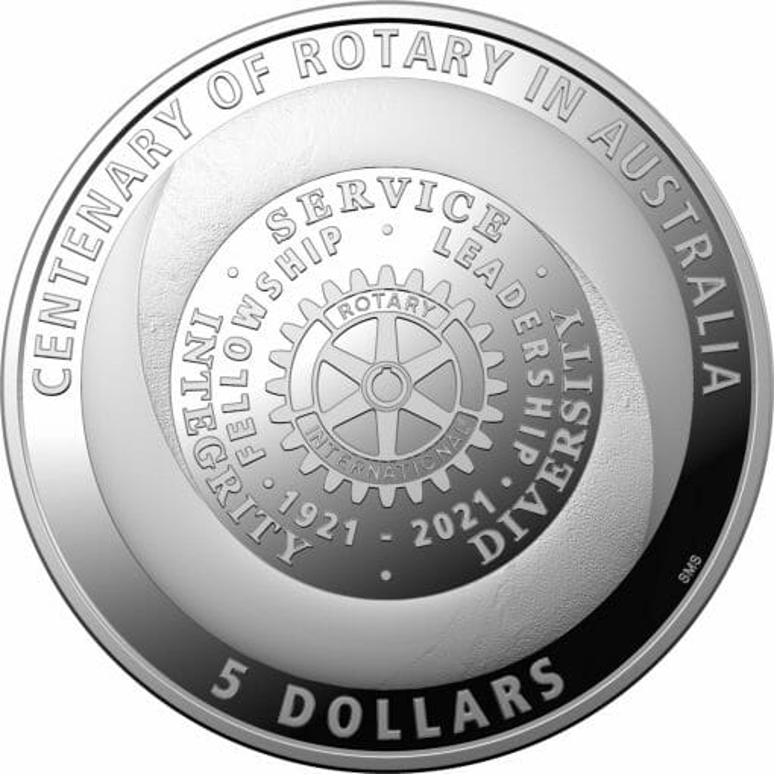 2021 $5 Centenary of Rotary Australia 1oz .999 Silver Proof Coin 1