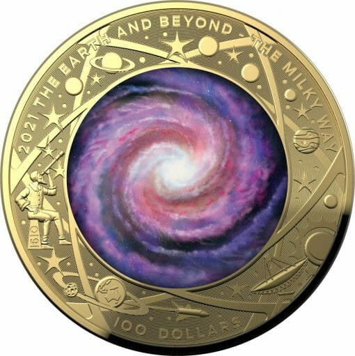 2021 $100 The Earth & Beyond - The Milky Way 1oz .9999 Gold Proof Colour Domed Coin 1