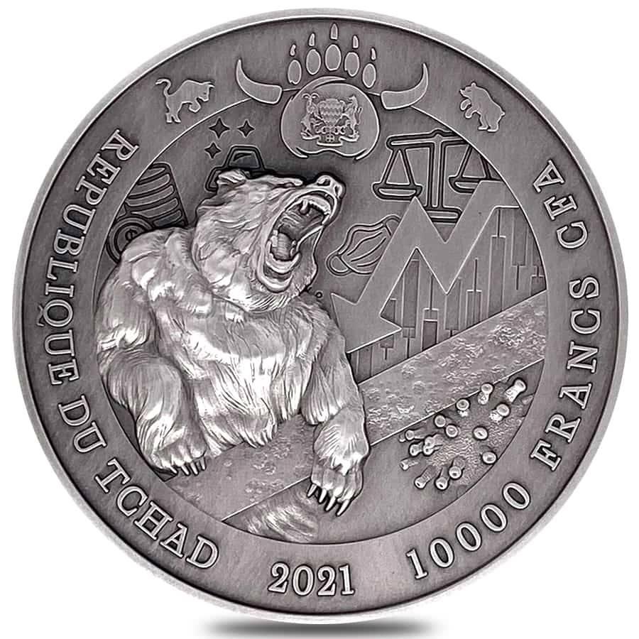 2021 Chad Bull vs Bear Pandemic 2oz .999 Silver Antiqued High Relief Coin 2