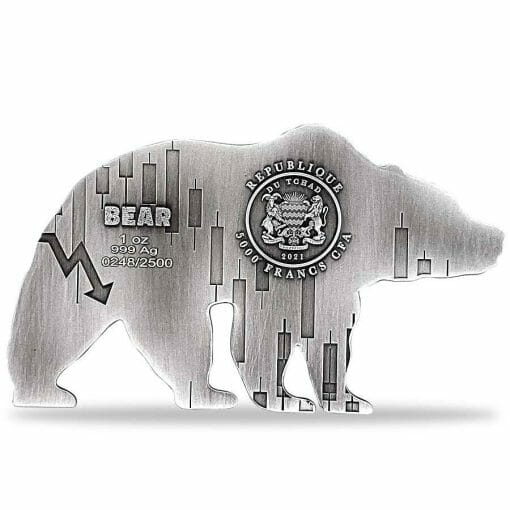 2021 Chad Bear Shaped 1oz .999 Silver Antiqued High Relief Coin 2