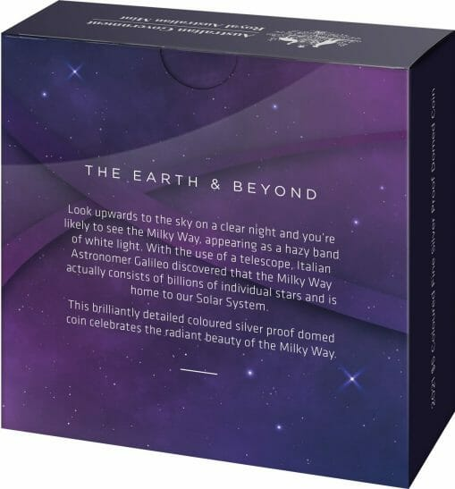 2021 $5 The Earth & Beyond - The Milky Way 1oz .999 Silver Proof Colour Domed Coin 7