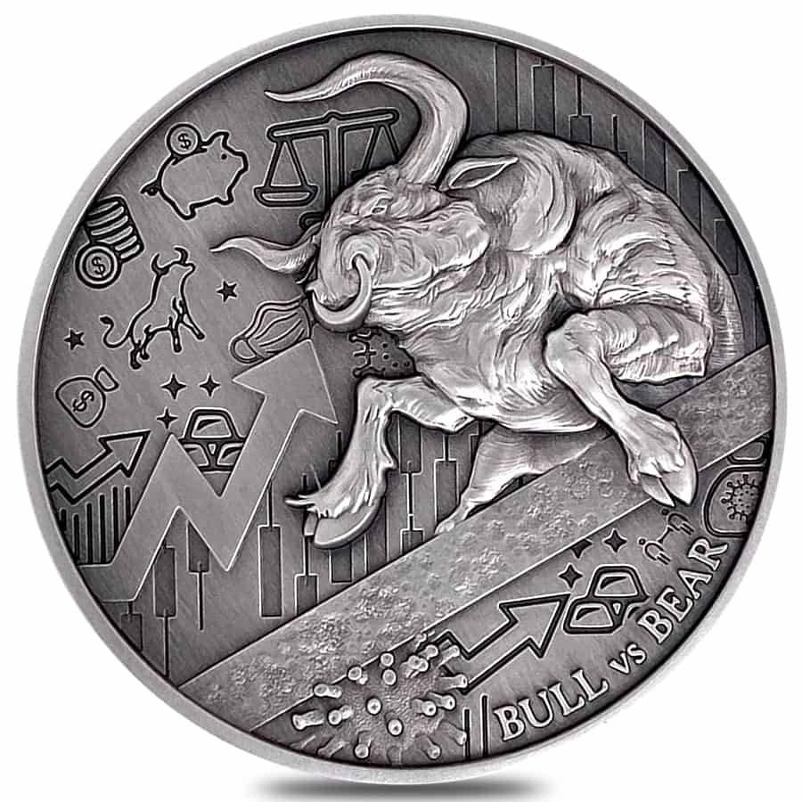 2021 Chad Bull vs Bear Pandemic 2oz .999 Silver Antiqued High Relief Coin 1