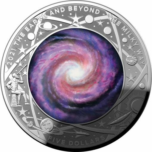 2021 $5 The Earth & Beyond - The Milky Way 1oz .999 Silver Proof Colour Domed Coin 1