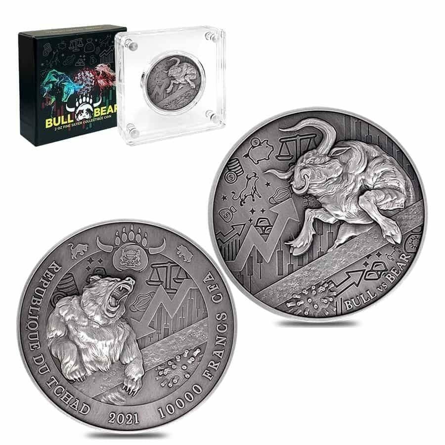 2021 Chad Bull vs Bear Pandemic 2oz .999 Silver Antiqued High Relief Coin 5