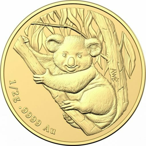 2021 $2 Mini Koala 1/2 gram 0.5g .9999 Gold Frosted Uncirculated Coin 2