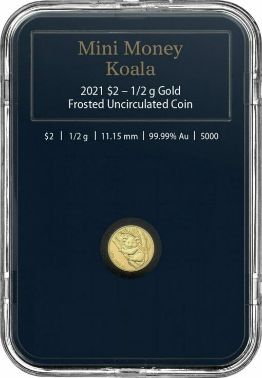 2021 $2 Mini Koala 1/2 gram 0.5g .9999 Gold Frosted Uncirculated Coin 4