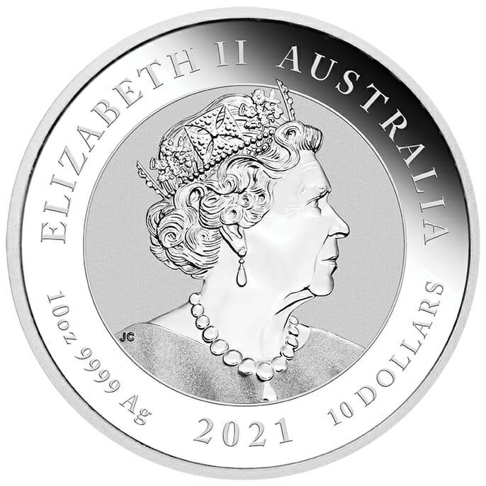 2021 Australia Double Dragon 10oz .9999 Silver Bullion Coin 5