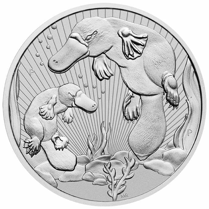 2021 Mother & Baby Platypus 2oz .9999 Silver Bullion Piedfort Coin 1