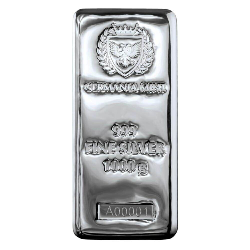 Germania Mint 1kg .999 Silver Cast Bullion Bar - 1 Kilo 1