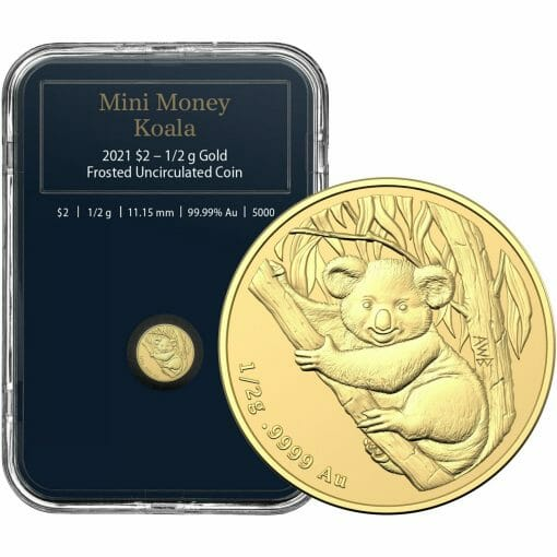 2021 $2 Mini Koala 1/2 gram 0.5g .9999 Gold Frosted Uncirculated Coin 1