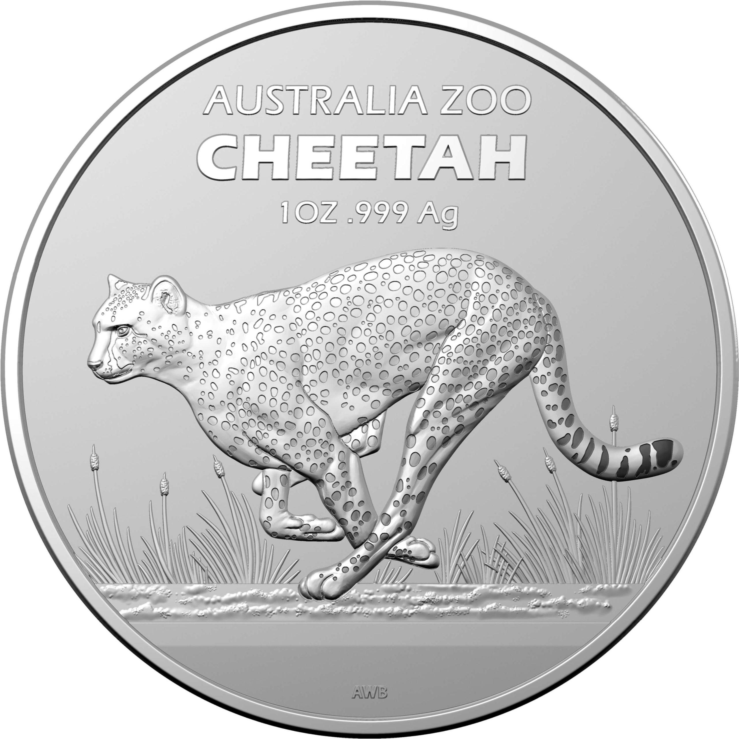 2021 $1 Australia Zoo Series - Cheetah 1oz .999 Silver Bullion Coin 1