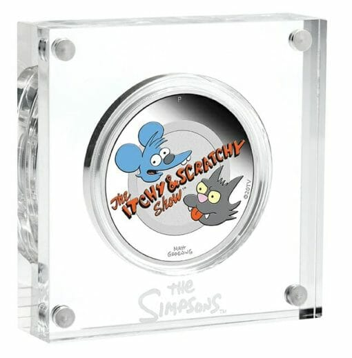 2021 The Simpsons - Itchy & Scratchy 1oz .9999 Silver Proof Coloured Coin 3