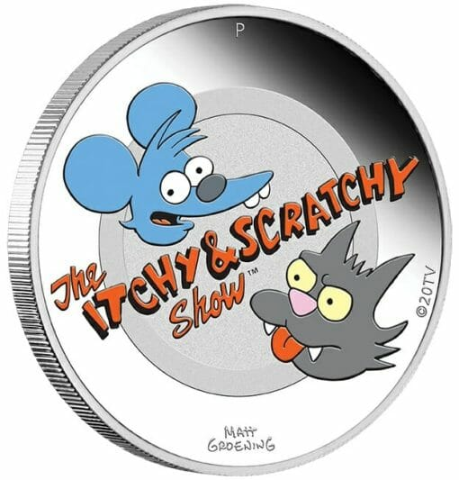2021 The Simpsons - Itchy & Scratchy 1oz .9999 Silver Proof Coloured Coin 2