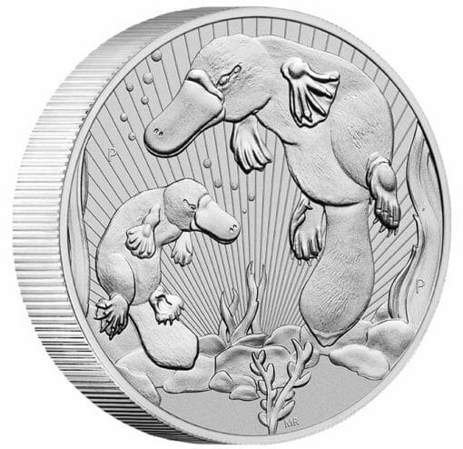2021 Mother & Baby Platypus 2oz .9999 Silver Bullion Piedfort Coin 2