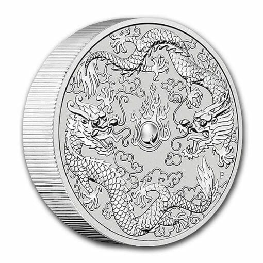 2021 Australia Double Dragon 10oz .9999 Silver Bullion Coin 2