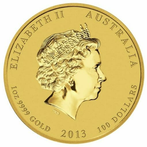 2013 Year of the Snake 1oz .9999 Gold Bullion Coin - Lunar Series 2 3