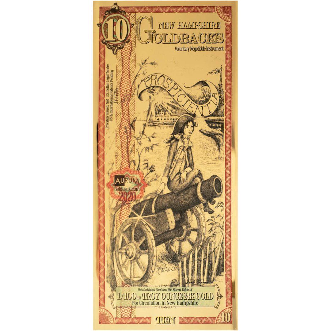 10 New Hampshire Goldbacks 1/100oz 24K Gold Foil Note 1
