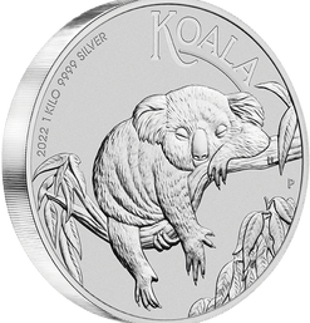 2022 Australian Koala 1kg .9999 Silver Bullion Coin – 1 Kilo On Edge