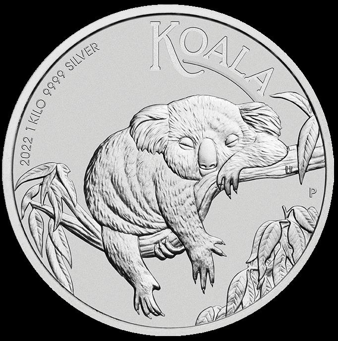 2022 Australian Koala 1kg .9999 Silver Bullion Coin – 1 Kilo Front