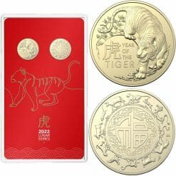 2022 $1 Year of the Tiger Uncirculated Two Coin Set - AlBr