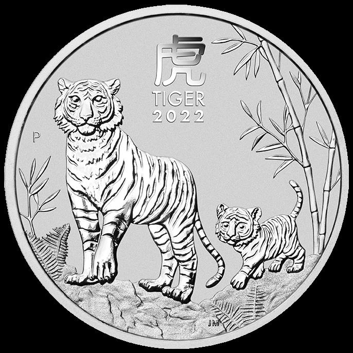 2022 Year of the Tiger 5oz .9999 Silver Bullion Coin – Lunar Series III