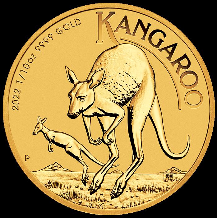 2022 Australian Kangaroo 1/10oz .9999 Gold Bullion Coin