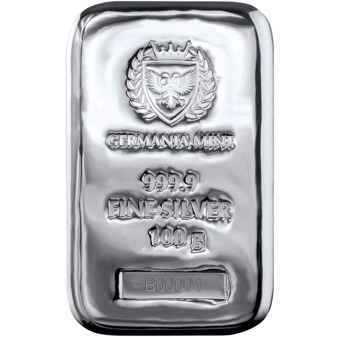Germania Mint 100g .9999 Silver Cast Bullion Bar 1
