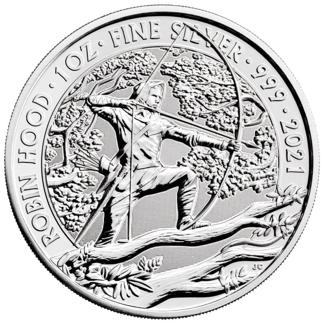 2021 Robin Hood 1oz .999 Silver Bullion Coin Froint