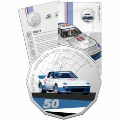 2020 50c 1983 Mazda RX-7 - 60 Years of Supercars Coloured Coin in Card